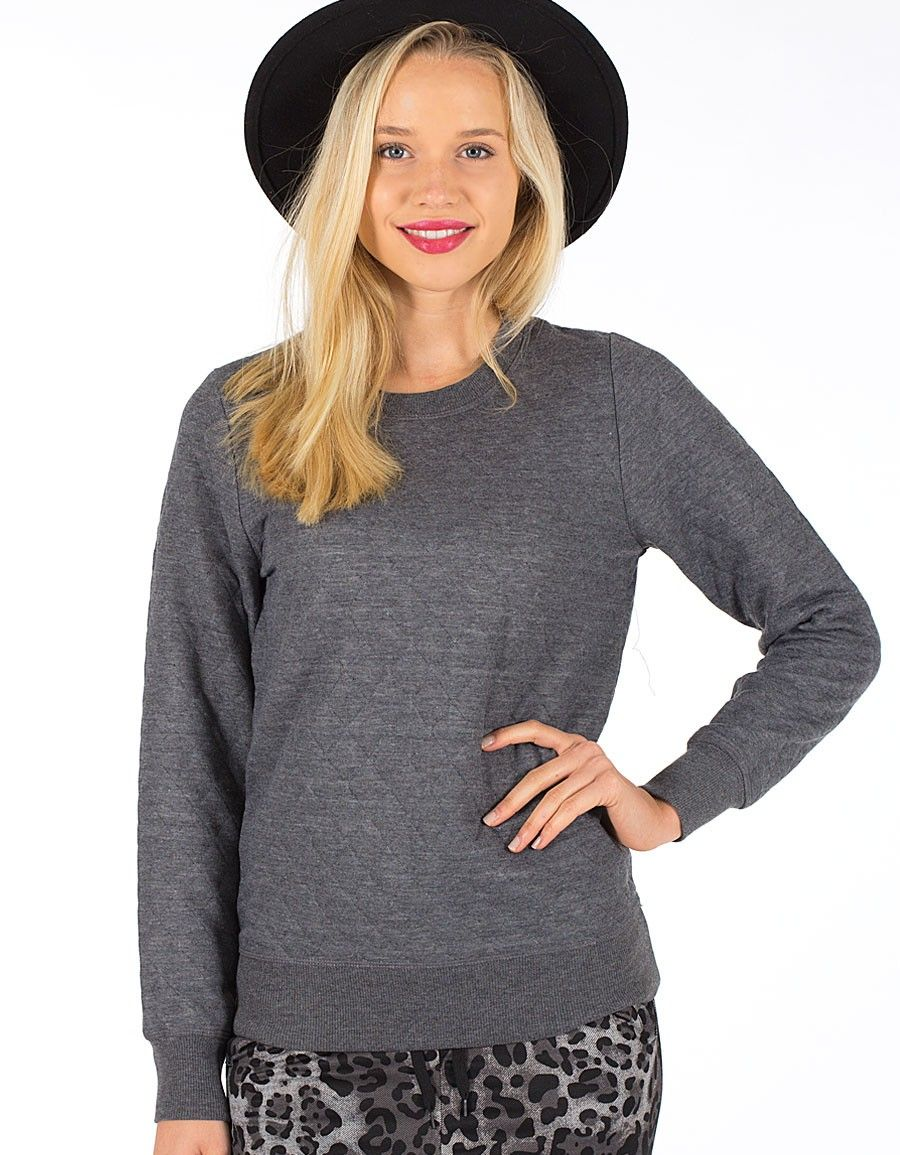 Dark Grey Quilted Sweater