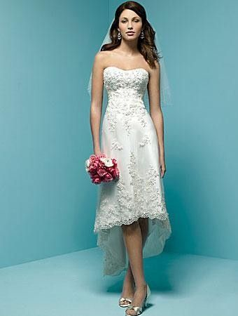 This short wedding dress is made of Satin, Embroidered Lace ...