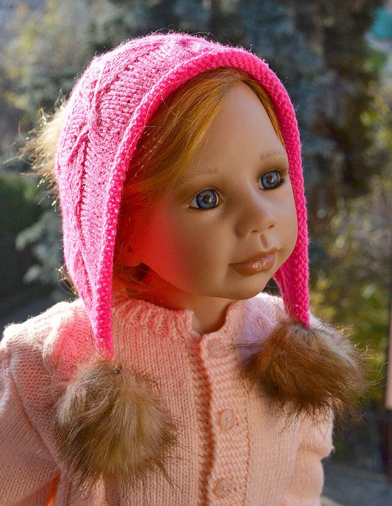 Knitted pink cap  FUR POMPOM by DosiakStyle on Etsy