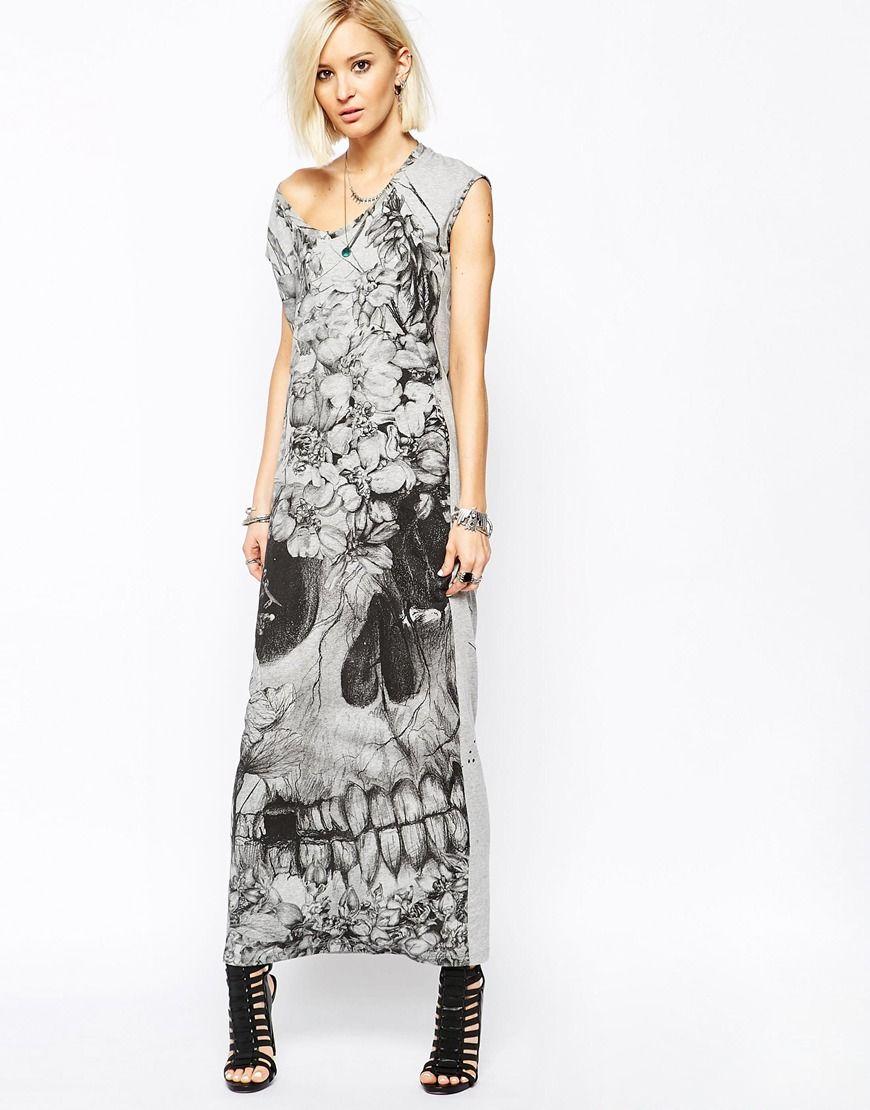 3e1e0e60009d Religion Maxi T-Shirt Dress With Floral Skull Print | Skulls and Day ...