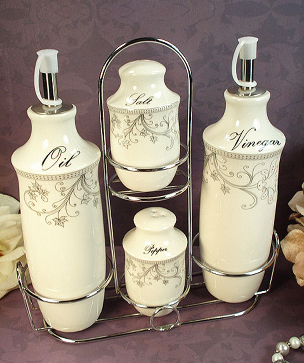 D\'Lusso Designs Damask Design Four Piece Oil vinegar Salt Pepper Set ...