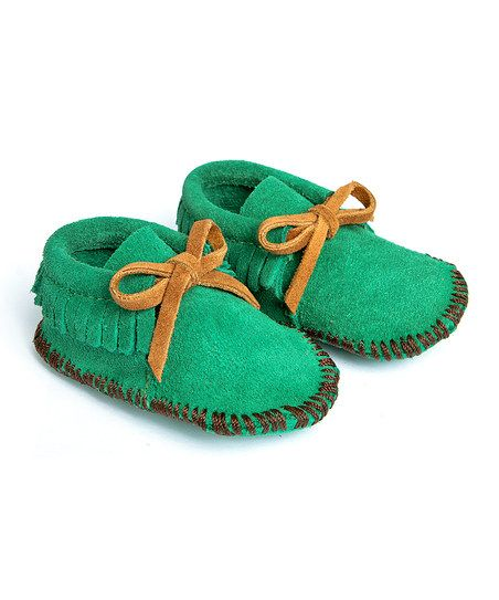 Green suede moccs
