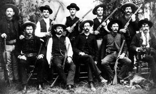 The Frontier Battalion, a company of Texas Rangers (1885)  ......not sure about the doggie.