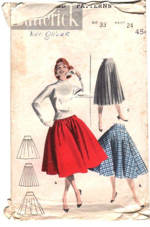 Vintage 50s Sewing Pattern Hip Yoke FULL CIRCLE SKIRT by ...