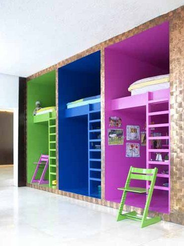 Interesting bunk bed concept: kinda like office cubicles but for kiddos. 9 by belladina via Flickr & 9 | Home: Bunk Beds | Pinterest | Bedroom Room and Kid beds