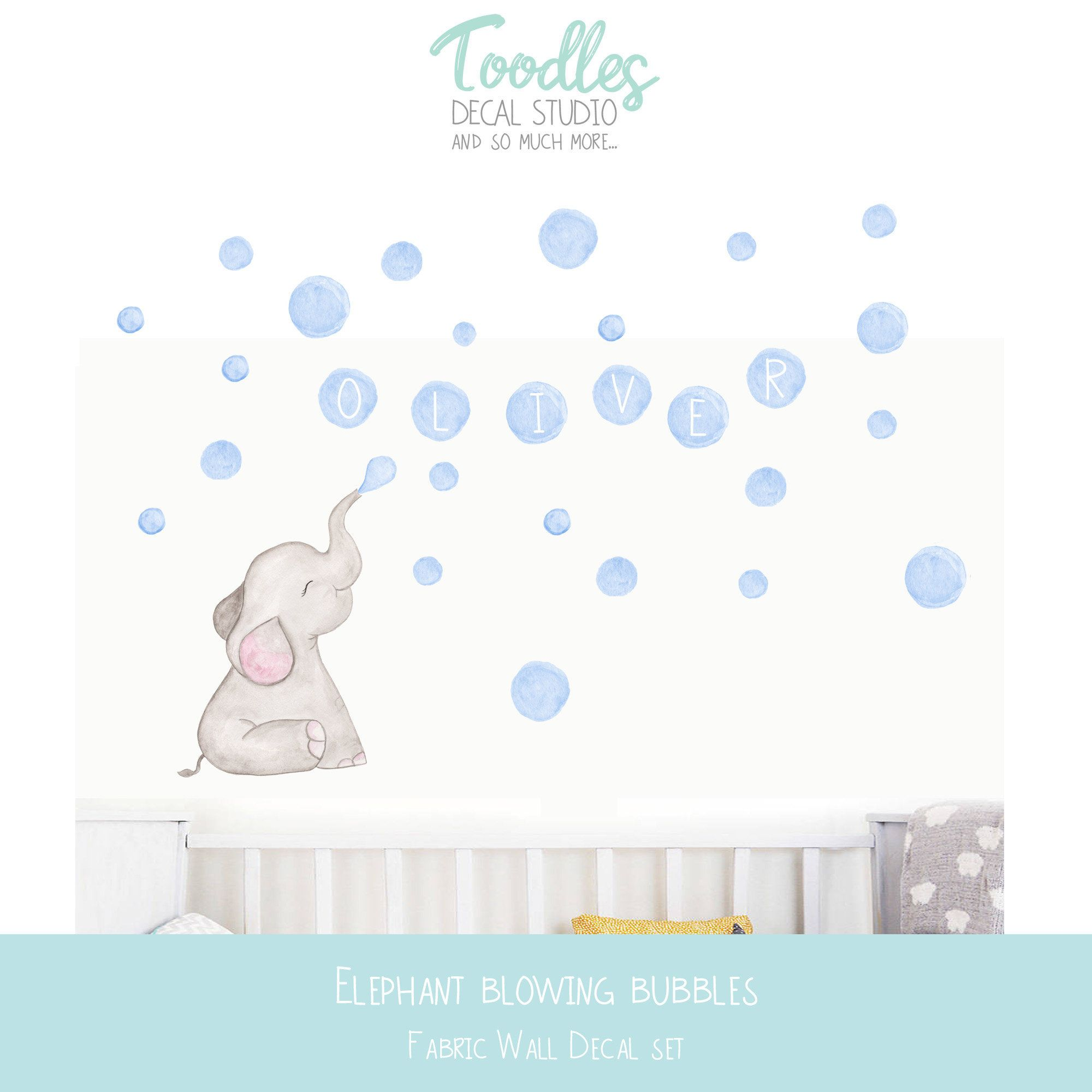 Elephant Nursery Decal Blue Watercolor Bubbles Name Fabric