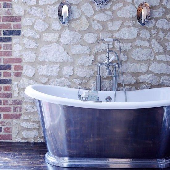Land Badezimmer Mit Steinwand Wohnideen Badezimmer Living Ideas Bathroom