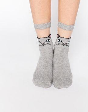 Asos Cat Sheer Panel Ankle Socks