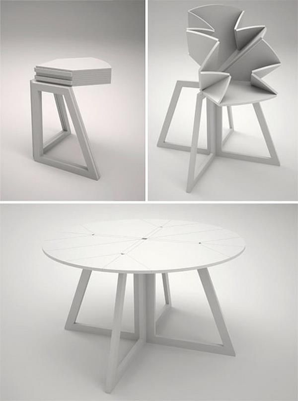 Collapsible Folding Round Table Great For Small Spaces, Goes From Accent  Table To Dining Table