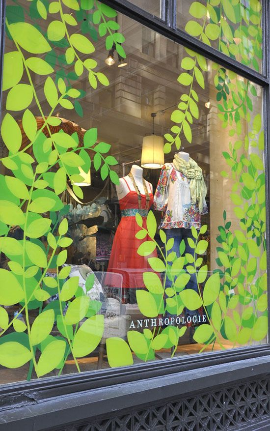 Anthropologie spring windows how easy is this cut paper paint stickers