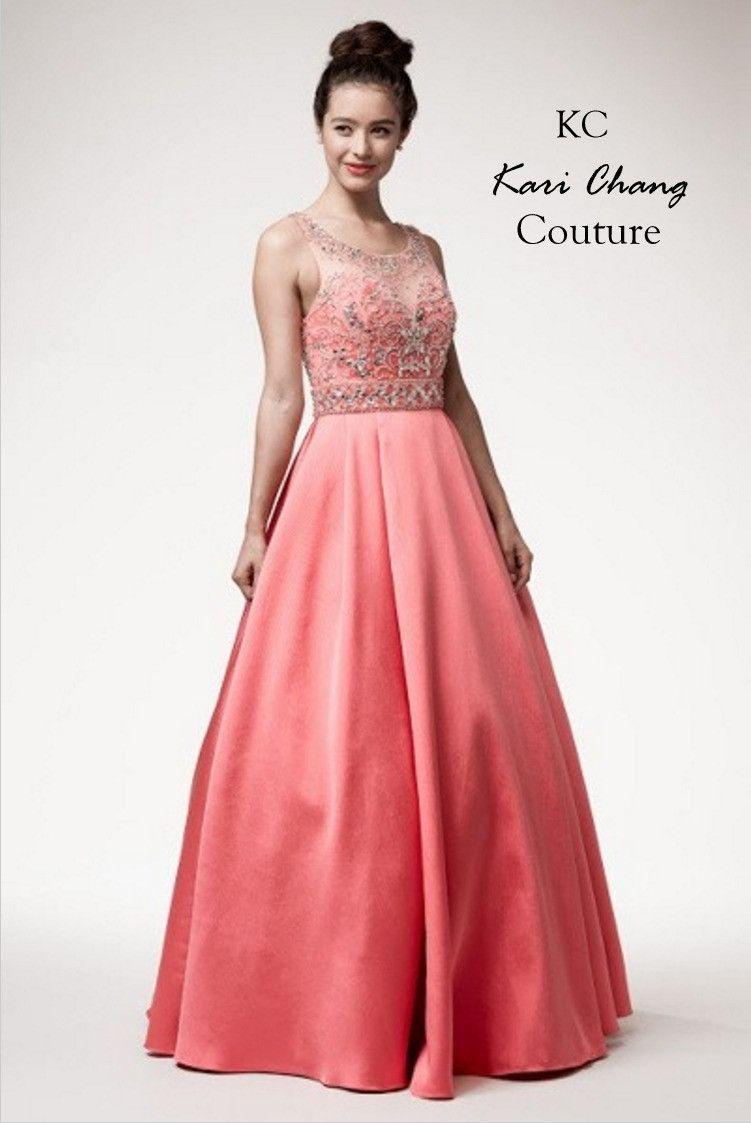 Kari Chang KC50 Coral Jeweled Princess Ball Gown Prom Dress | PRETTY ...