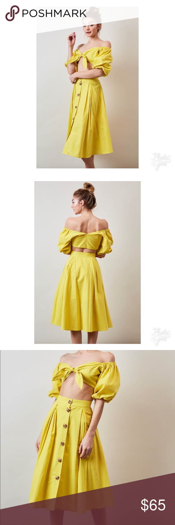 Yellow skirt two piece shoulder rounding and customer support