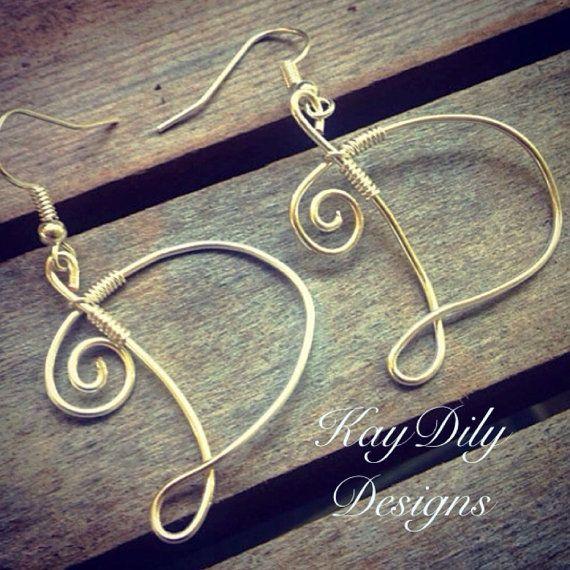 Wire Wrapped Silver Initial Earrings Personalized Earrings Letter D Earrings