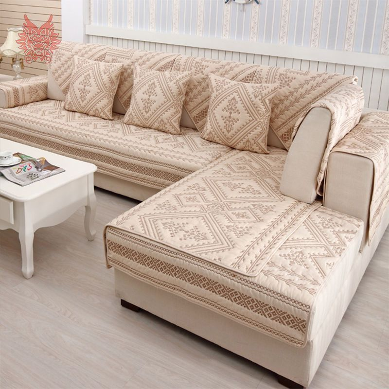 Beige White Geometric Embroidery Quilted Slipcovers 100 Cotton Sofa Cover Sp3073 Capa De Sofa Forro De Sofa Sofa