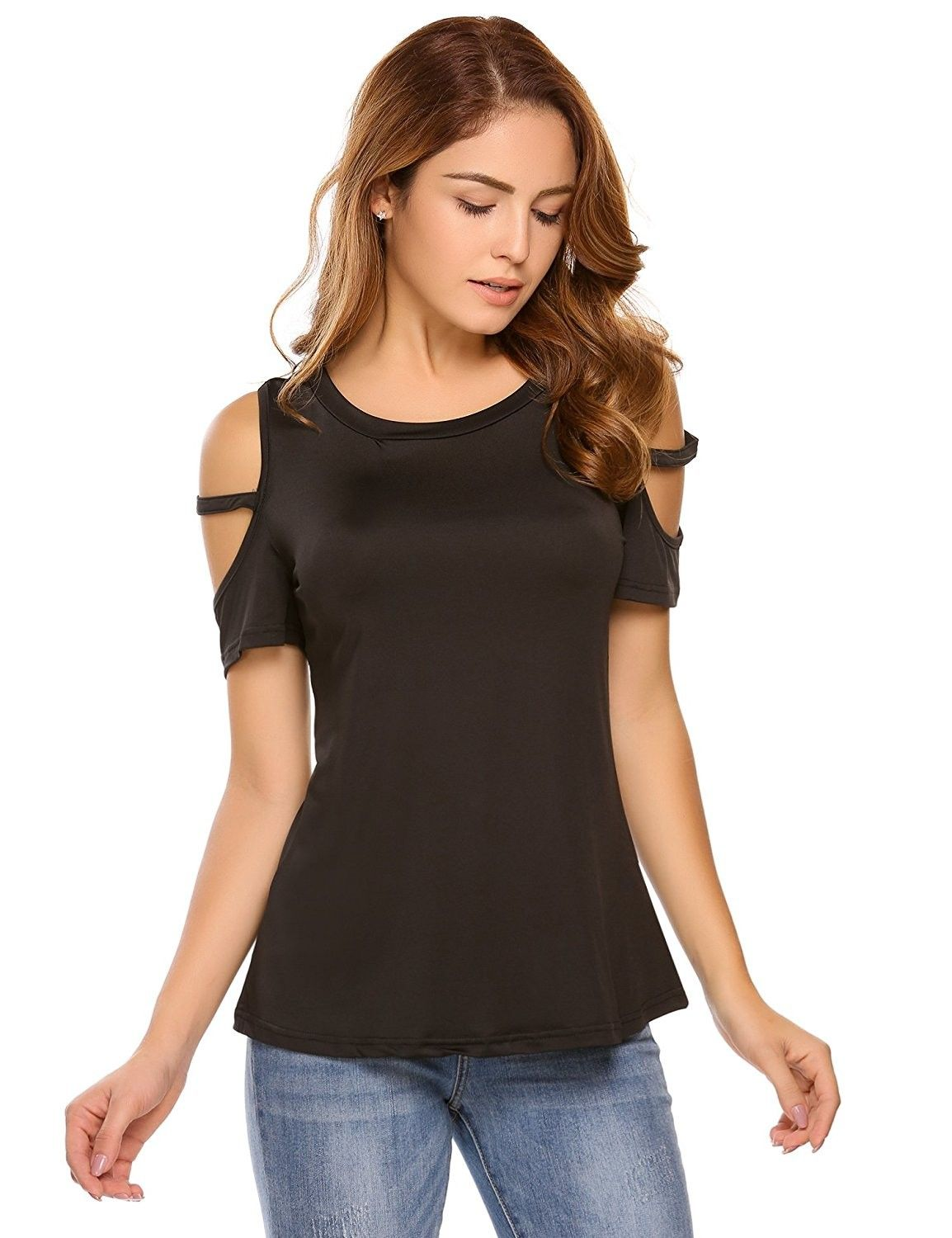 67911772111 Women's Clothing, Tops & Tees, Knits & Tees,Women's Casual Loose Cut Out  Cold Shoulder T-Shirt Short Sleeve Tops - Black - C2184RHTRCE #KnitsTees # Women's ...