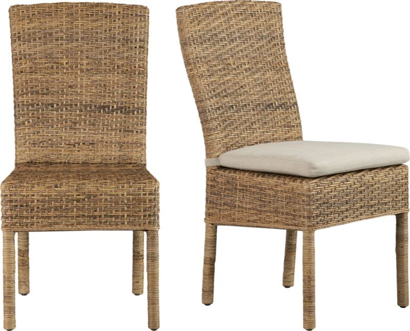 Handwoven Natural Tiger Peel Rattan Is Woven Over A Solid Mahogany