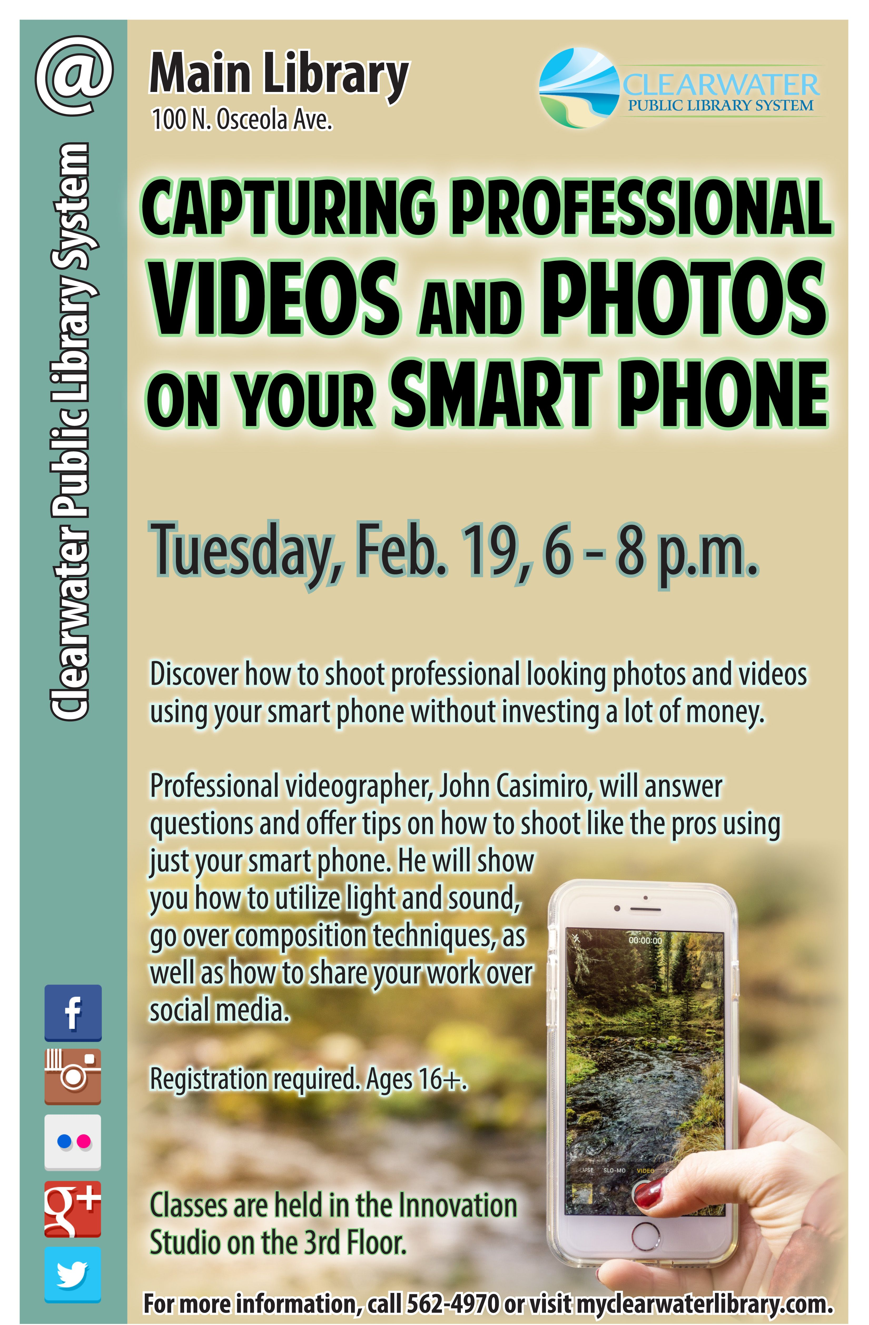 Capturing professional videos and photos main library