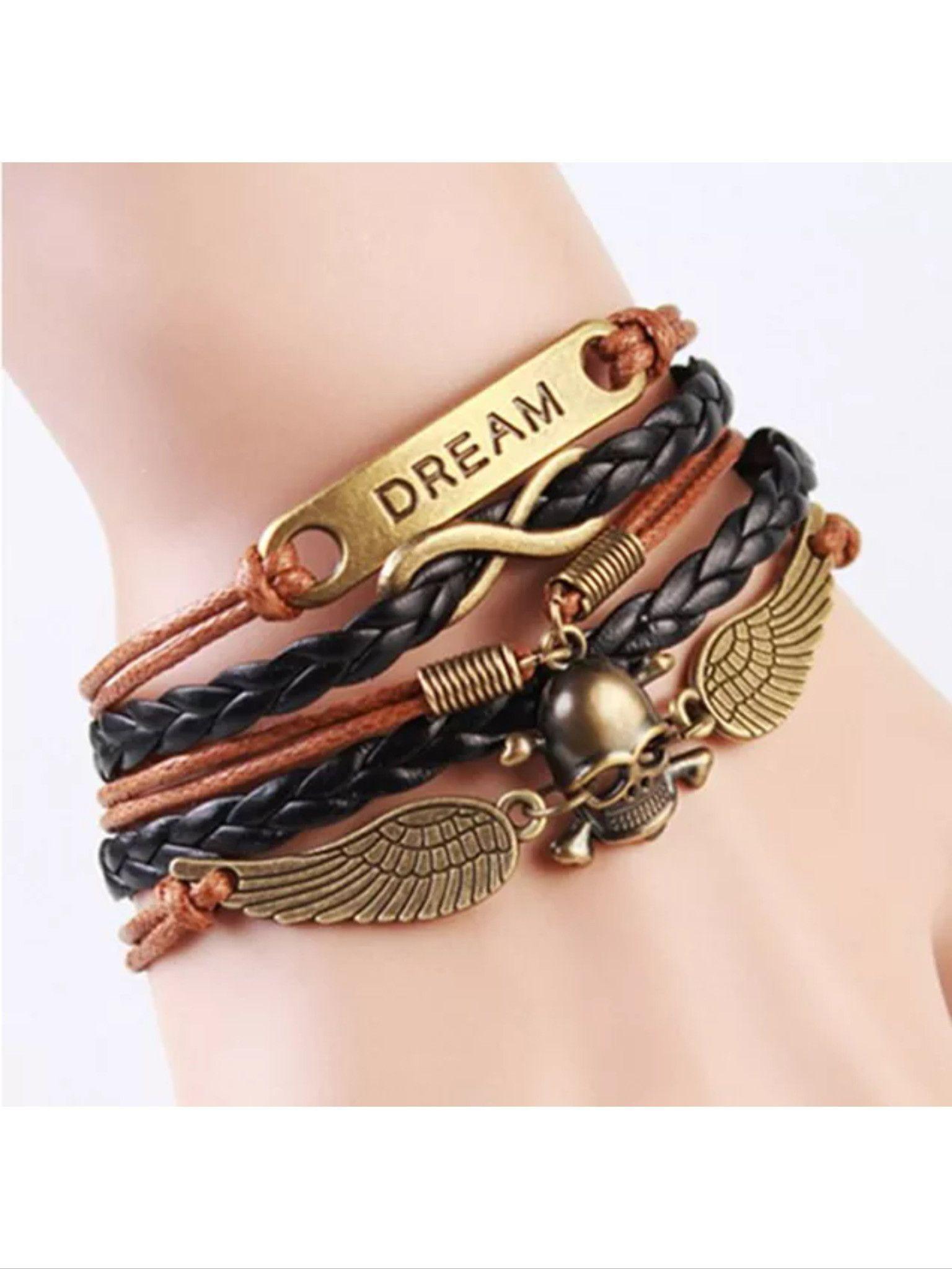Leather charm bracelet products pinterest leather charm