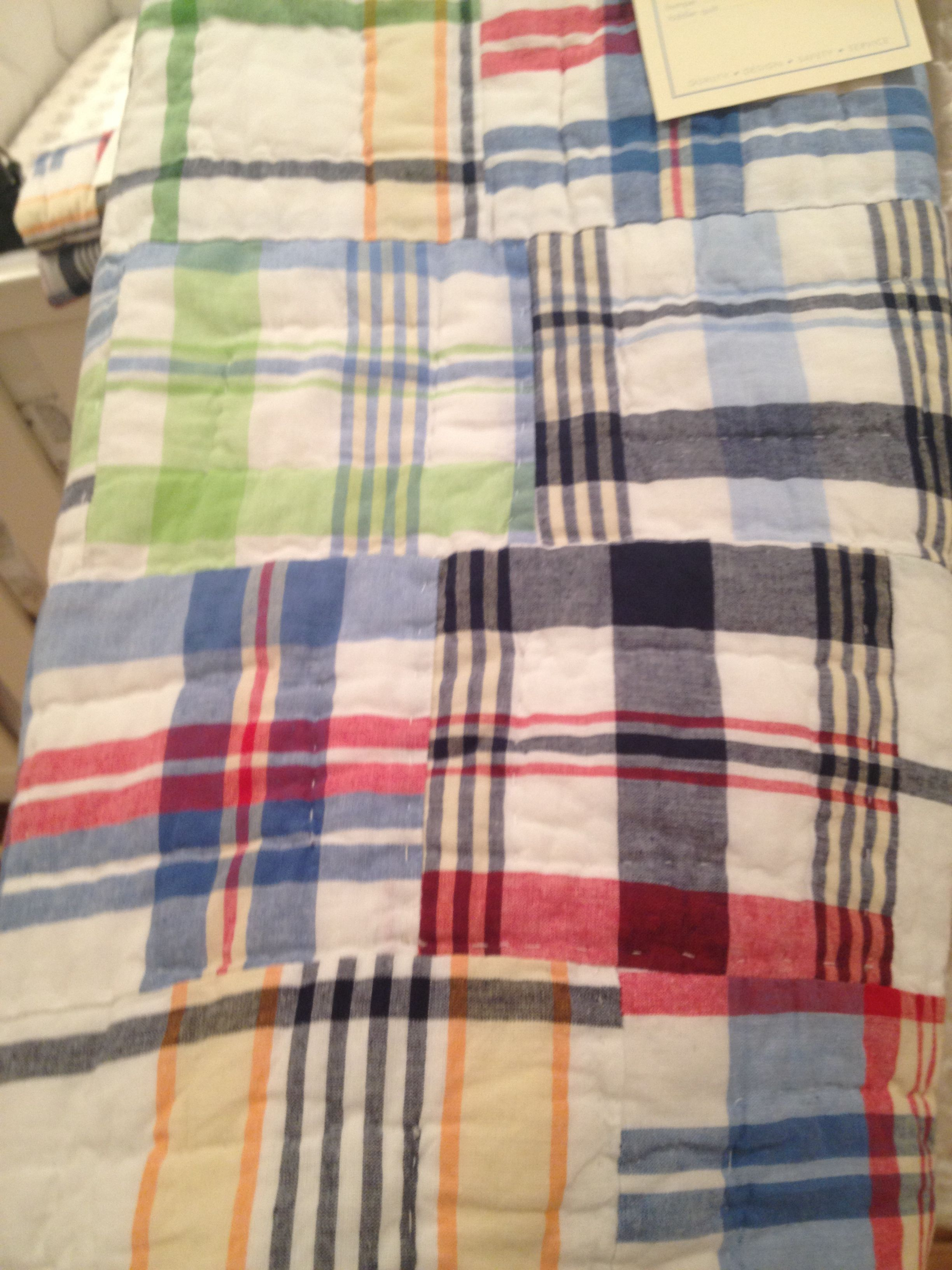 Pottery Barn Madras Plaid Toddler Quilt Baby Boy