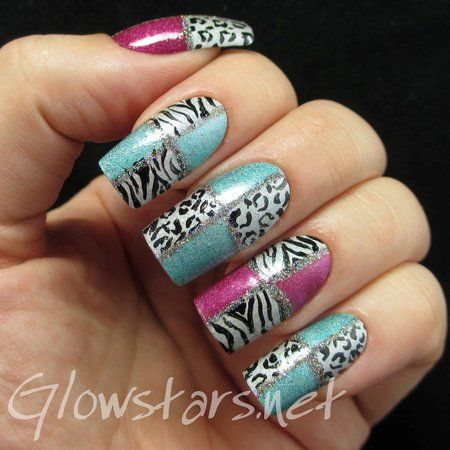 Holo Colour Blocked Leopard And Zebra Blue Pink Nailart Download
