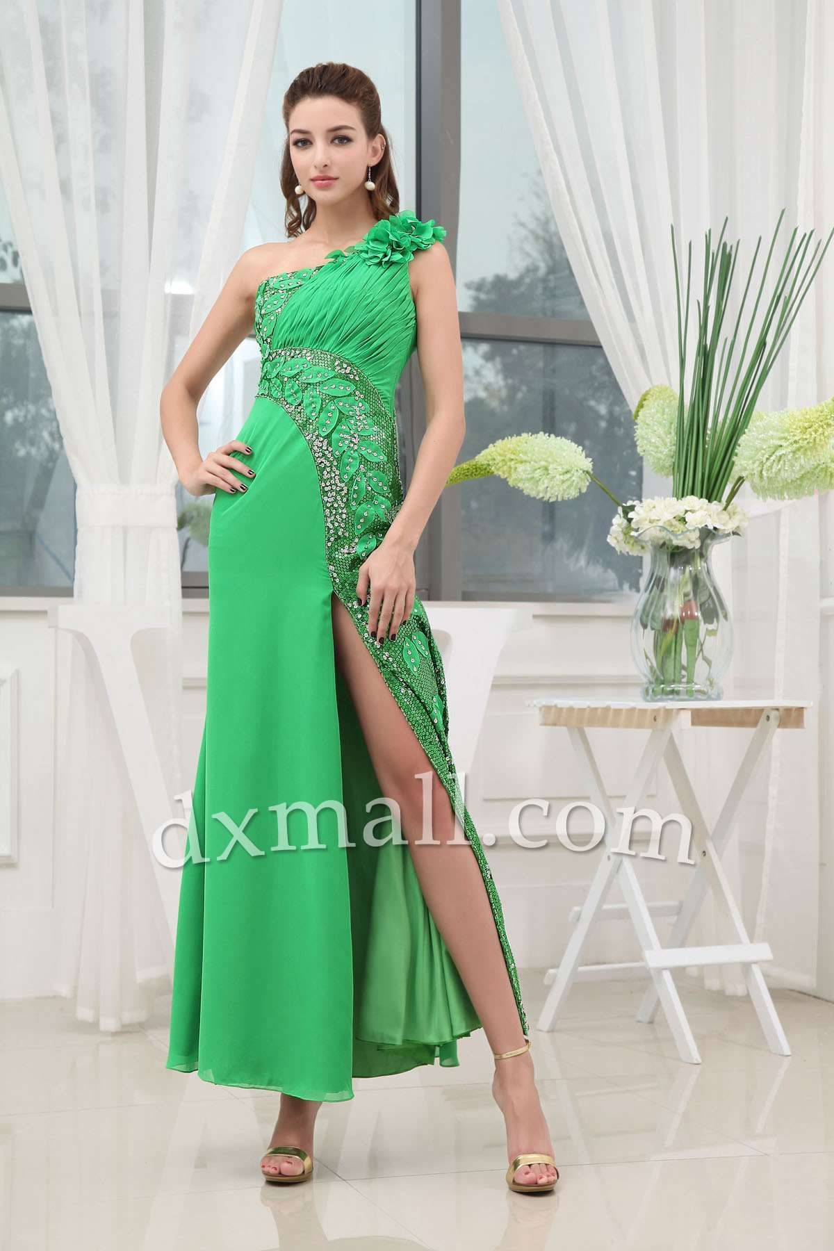 Formal dresses to wear to a wedding  Empire Wedding Guest Dresses One Shoulder Ankle Length Chiffon