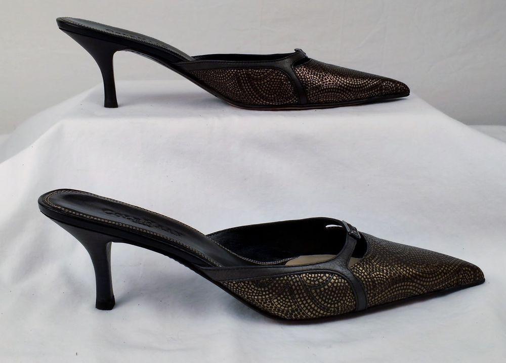 COLE HAAN CITY  Pointy Toe Kitten Heels Gold & Brown Embossed 8.5 medium EX USED #ColeHaan #KittenHeels