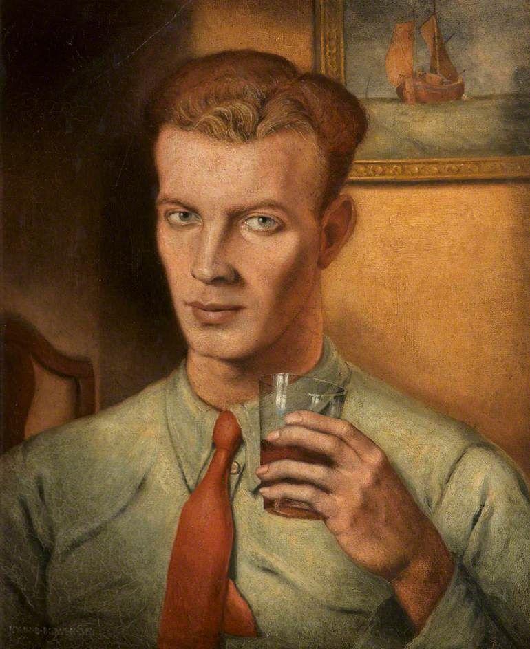 Self-portrait (1938) by British painter John Bowen (1914-2006). Oil on canvas, 49 x 40 cm. via BBC