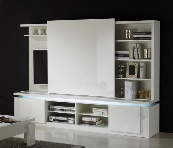 Bianca Modern Tv Wall Unit In White Lacquer Light Included Prostranstva Stol Obedennye Stoly
