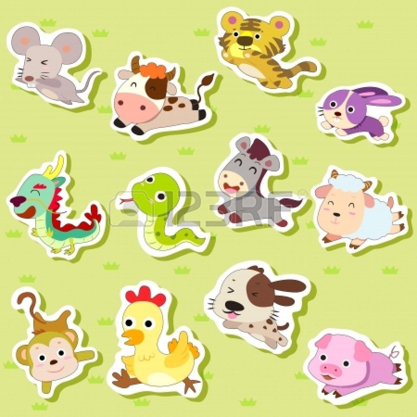 12 Chinos Del Zodiaco Pegatinas De Animales Dibujos Animados Ilustracion Vectorial Ilustracion Vectorial Animales Dibujos Animados Ilustracion Animal