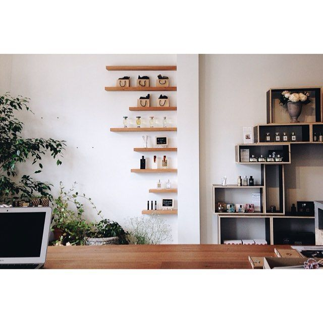 Form ply shelves and floating shelves from Vic Ash by www.simonrobinson.com.au for shop fit out for Sweet Fern.