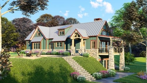 Rustic House Plan Men 5025 Adirondack Place Rustic House Plans Craftsman Style House Plans Sloping Lot House Plan