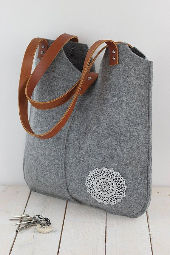 Grey, Felt Tote Bag, crochet applique, leather handles, Felt bag, Tote Bag, Felt Tote, Shopper Bag, Shoulder Bag, Felt Handbag