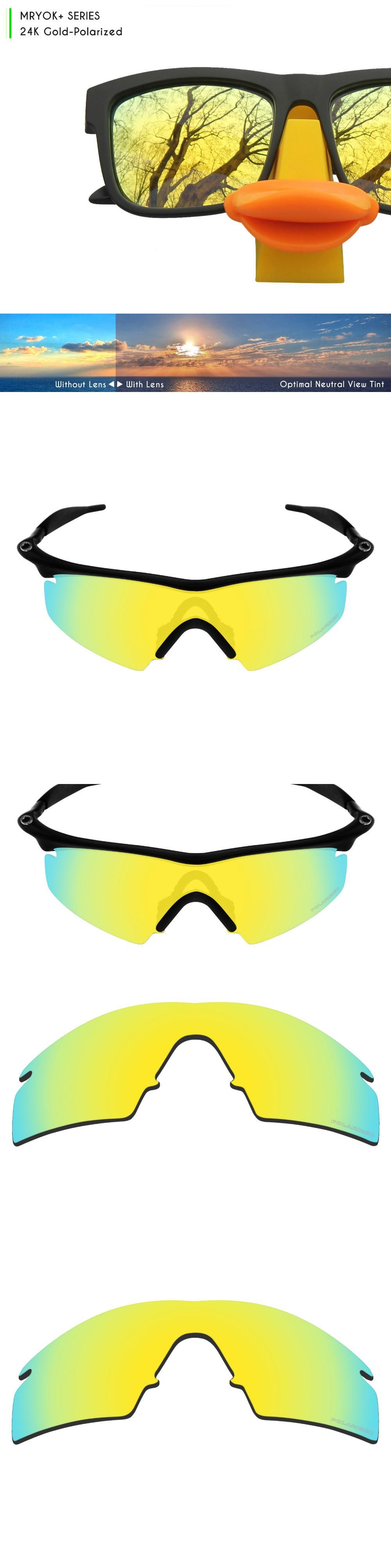 4b48f47da81 Mryok+ POLARIZED Resist SeaWater Replacement Lenses for Oakley M Frame  Strike Sunglasses 24K Gold