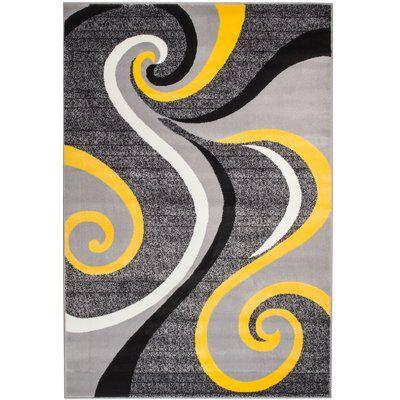 Zipcode Design Rick Gray Yellow Indoor Area Rug Yellow Area Rugs