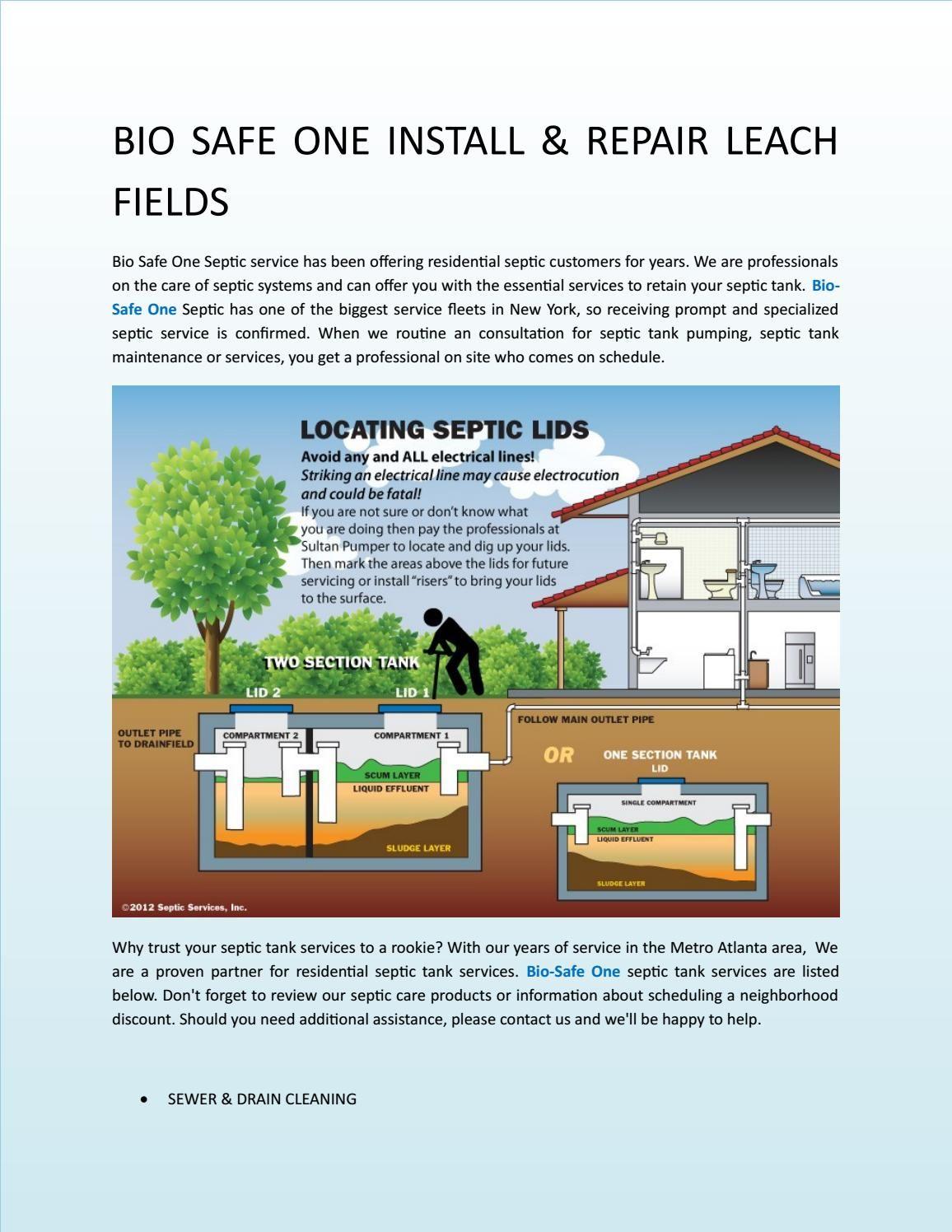 Bio safe one install & repair leach fields Septic tank
