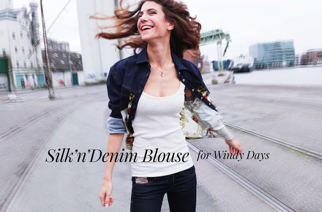 Denim and Silk Blouse