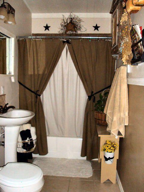Merveilleux Country Bathroom Decor  Like The Decor Above The Shower  Curtain Colour  Idea!
