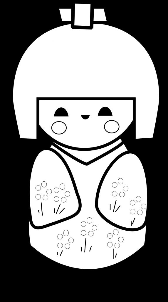 Free Printable Kokeshi Doll Coloring Page Paper And The Pea Kokeshi Dolls Kokeshi Japanese Dolls