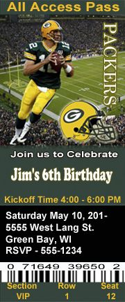 Green Bay Packers Football Theme Birthday Party Invitations Ticket Style Personalized