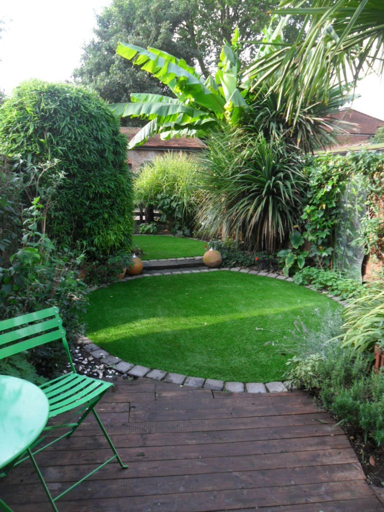 Back garden lawn fitted with artificial grass in Kent ...