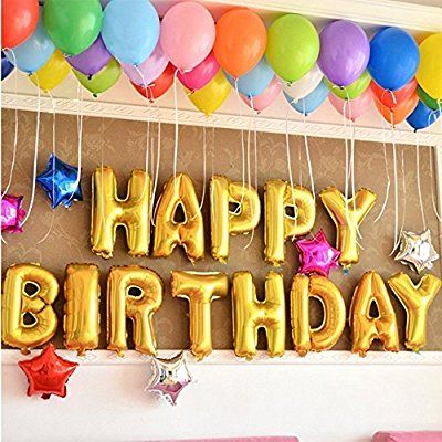 Fecedy Cute Gold Alphabet Letters foil Balloons Happy Birthday Party ...