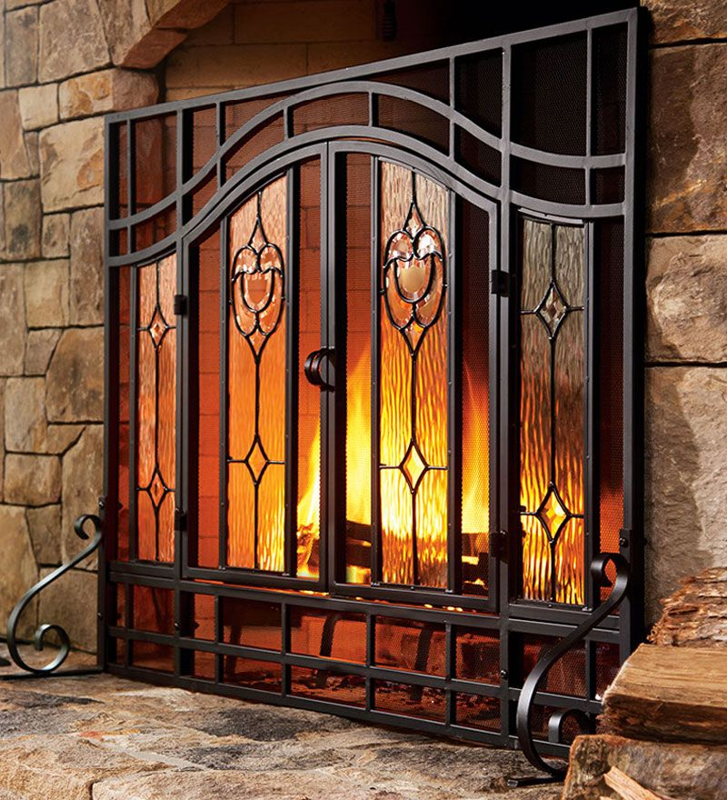 Large Two Door Floral Fireplace Screen With Beveled Glass Panels Cancelli Camino