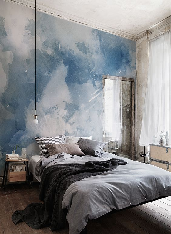 Best Blue White Grunge Paint Watercolor Mural Interior 400 x 300