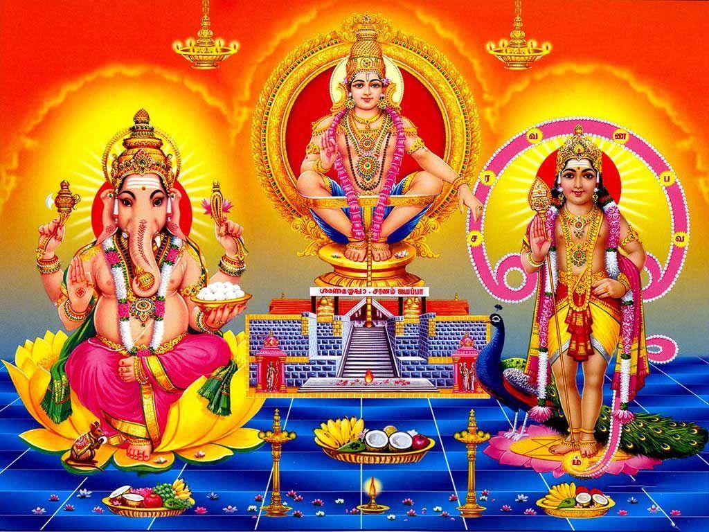 Swamy Ayyappa Wallpapers With Lord Ganesha And Lord Murugan 21st