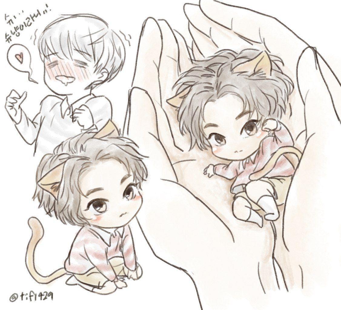 Xiumin fanart so cute Exo fan art, Exo art