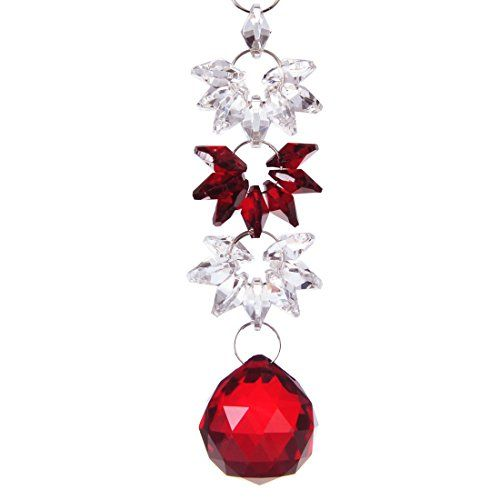 HD Chandelier Crystals Red Ball Pendant with Red Chakra Suncatcher ...