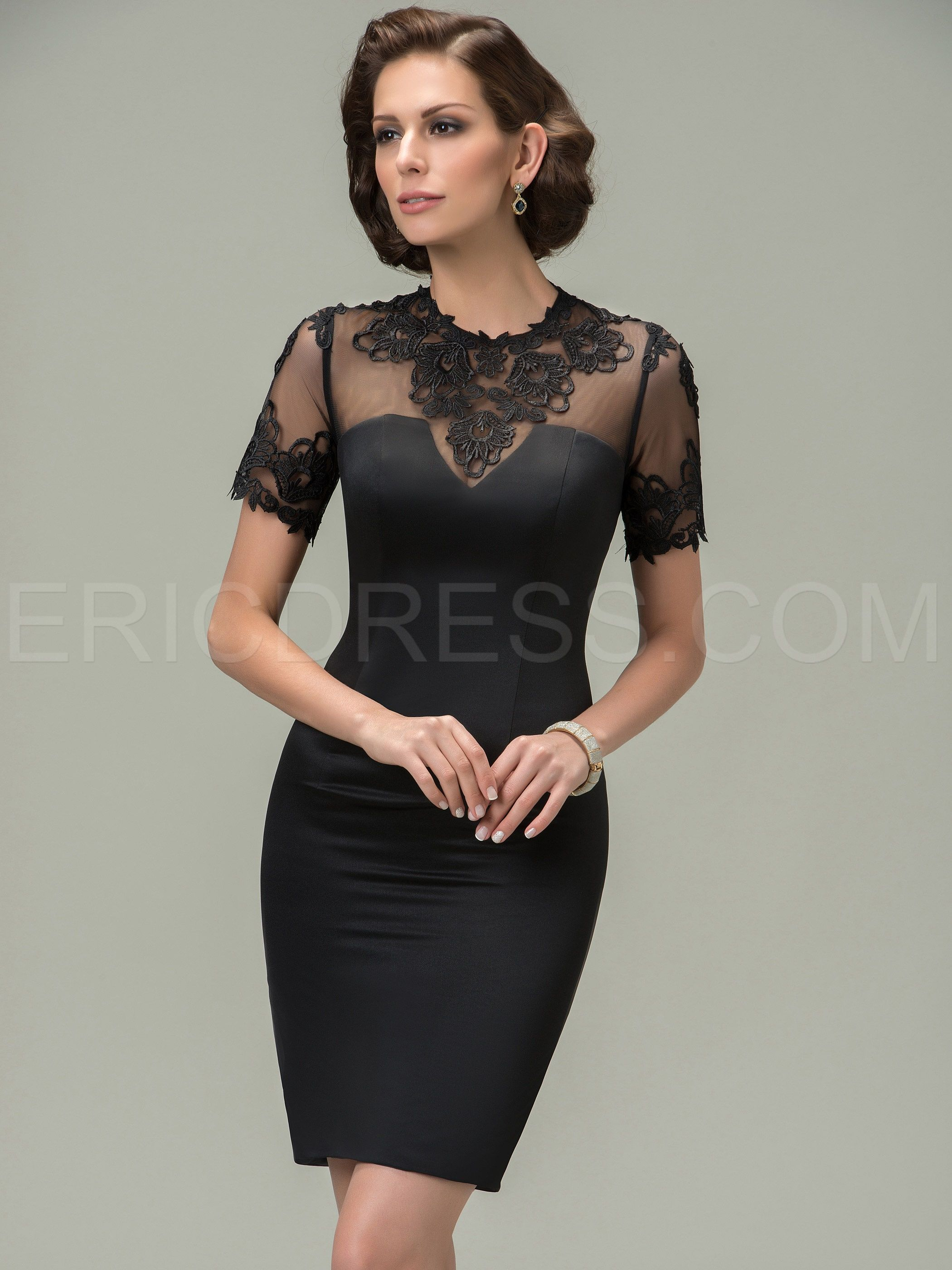 Jewel appliques short sleeves mother of the bride dress bride