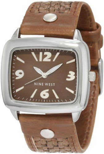 Nine West Women's NW/1281BNBN Rectangle Silver-Tone Brown Woven Raffia Strap Watch Nine West. $59.00. Brown dial with silver-tone applied arabic 3, 6, 9 & 12; stick markers at all other indexes. Brown woven raffia strap with stitched and padded backing. Stainless steel buckle closure. Polished oversized 36mm silver-tone rectangle case. Luminous hour and minute hands, stick second hand. Save 14% Off!