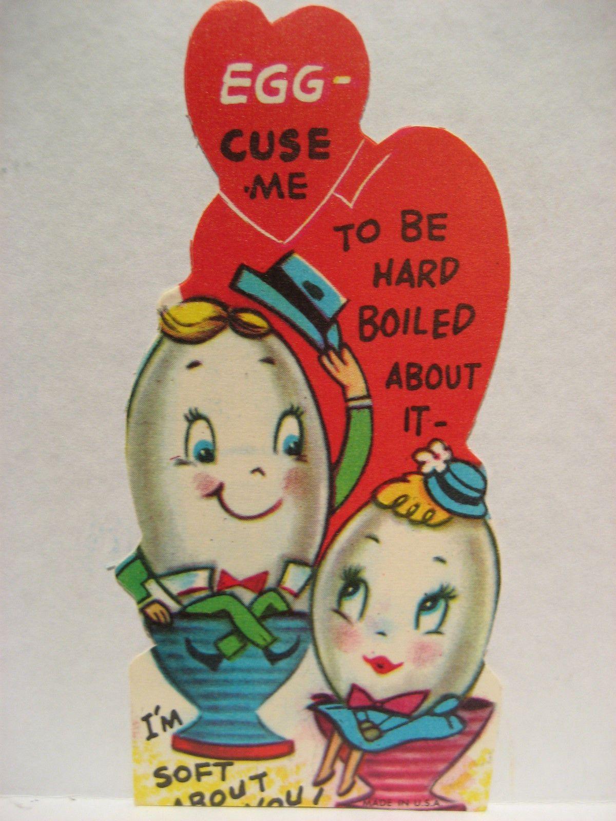Vintage Valentine Card Anthropomorphic Eggs Vintage