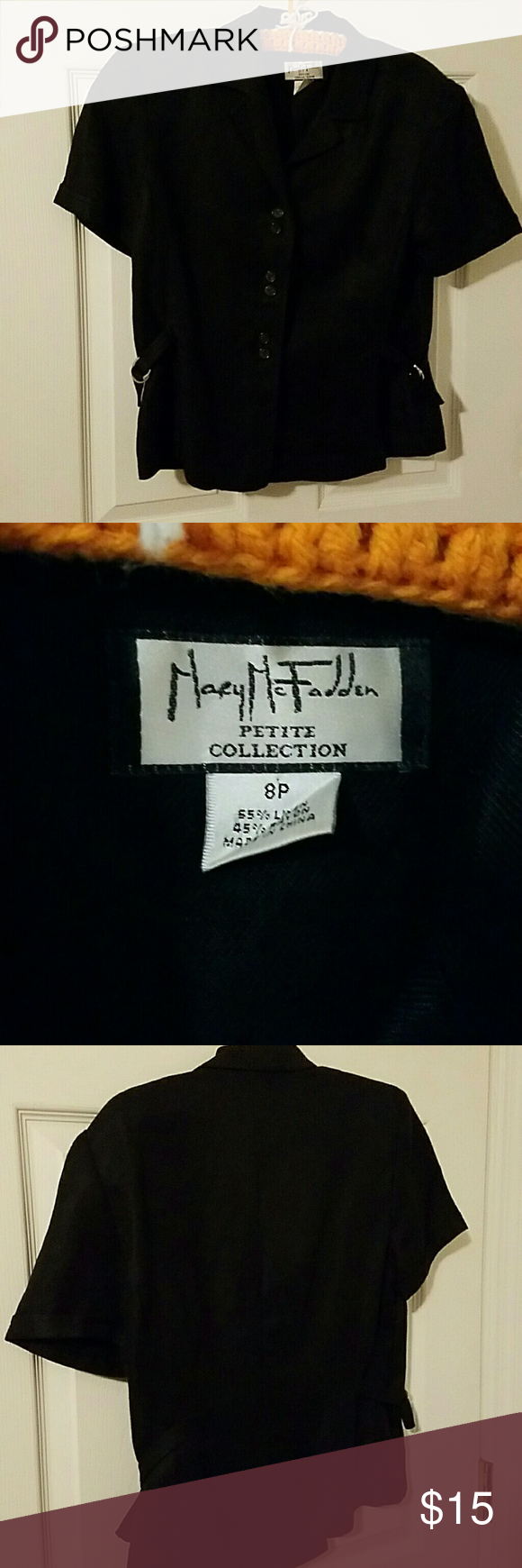 Mary McFadden petite short sleeved jacket linen Linen blend Mary McFadden  Jackets & Coats Blazers